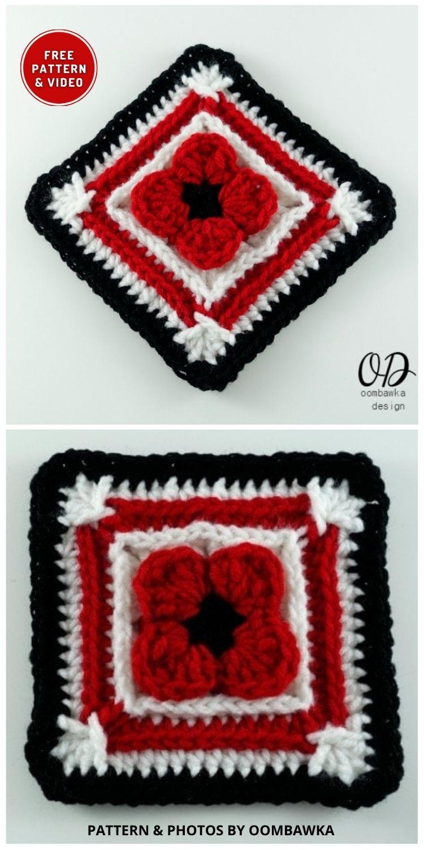 Para que não esqueçamos Poppy Afghan Square - 5 melhores padrões de manta de papoula de crochê para o dia da lembrança