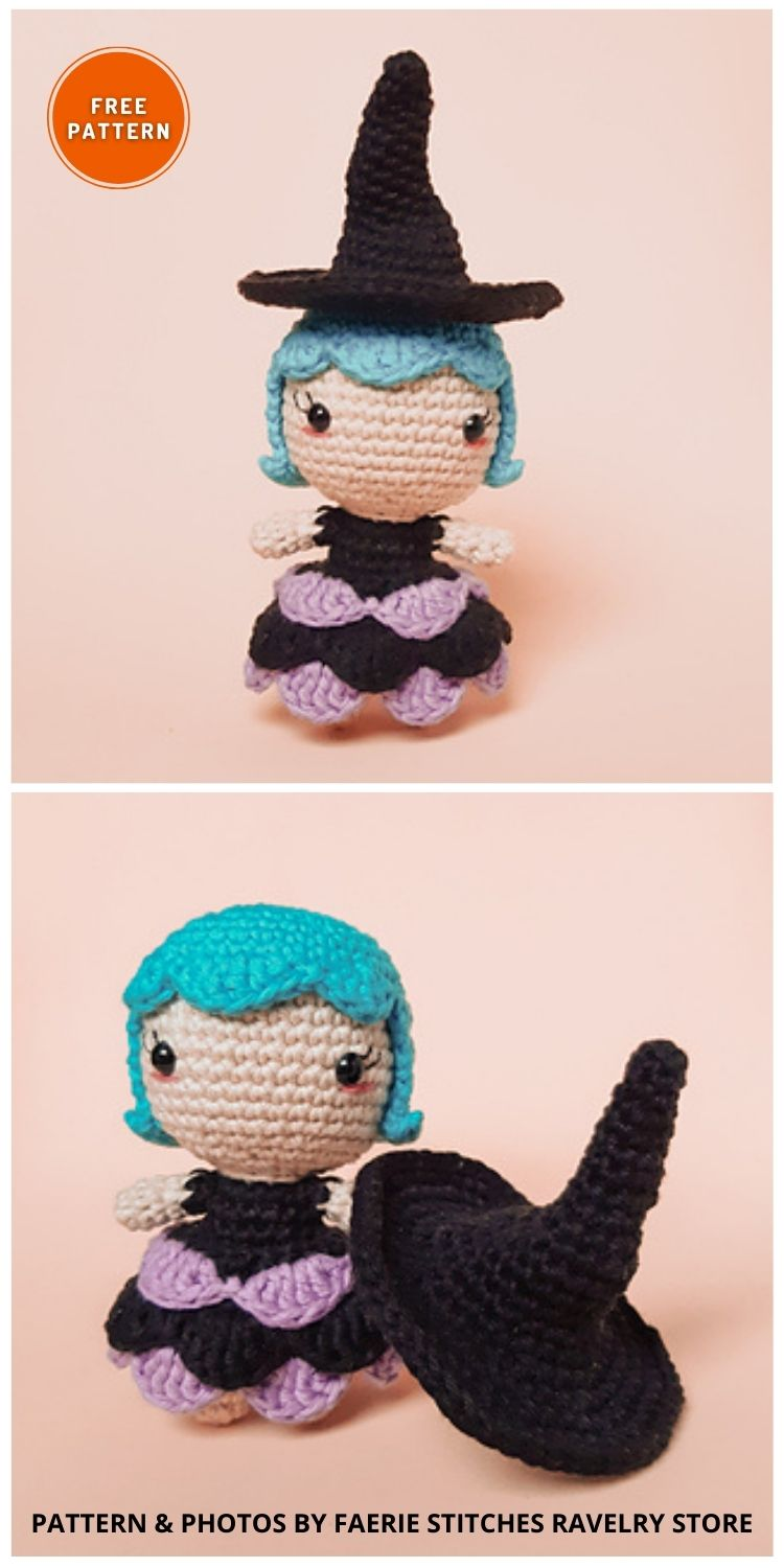 Luna The Witch - 9 Halloween Witch Doll Crochet Patterns
