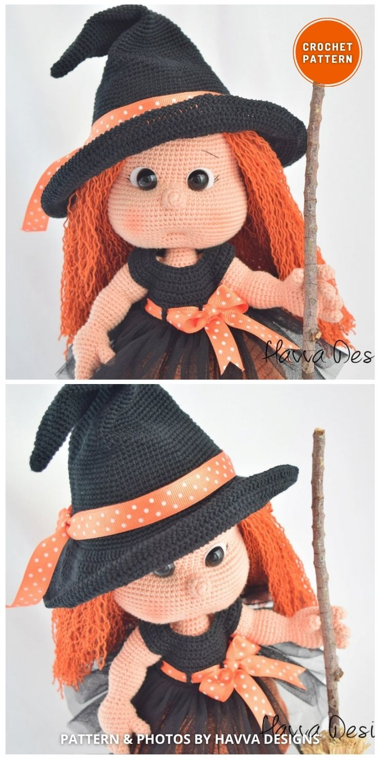Mia the Cute Witch Doll - 9 Halloween Witch Doll Crochet Patterns