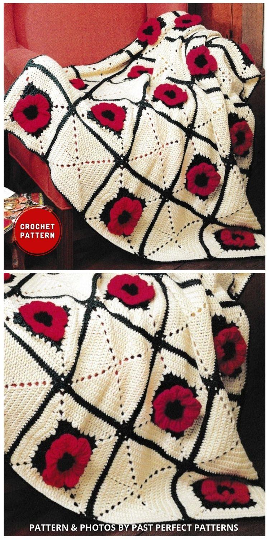 Poppy Afghan Throw Blanket - 5 melhores padrões de crochê poppy manta para o dia da lembrança