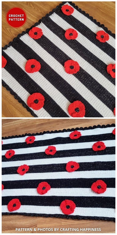 Cobertor de flor de papoula para bebê afegão - 5 melhores padrões de cobertor de papoula de crochê para o dia da lembrança