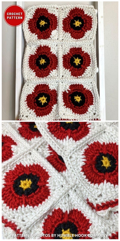 Cobertor quadrado de flor de papoula - 5 melhores padrões de cobertor de papoula de crochê para o dia da lembrança