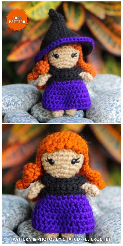 Zeena the Mini Crochet Witch Doll - 9 Halloween Witch Doll Crochet Patterns