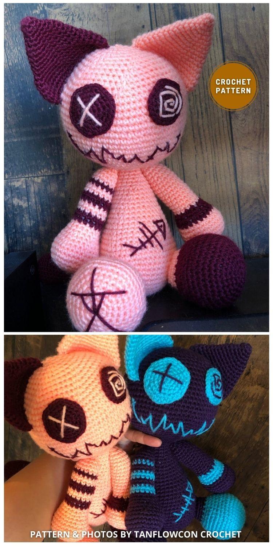Zombie Cat - 7 Spooky Crochet Zombie Patterns For Halloween